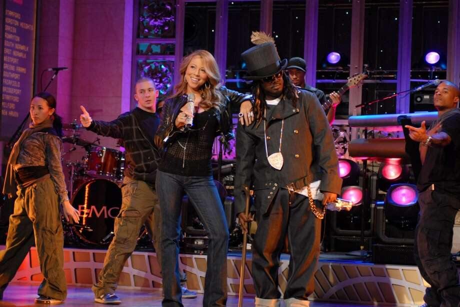 Mariah Carey and T-Pain appear on Saturday Night Live in 2008.