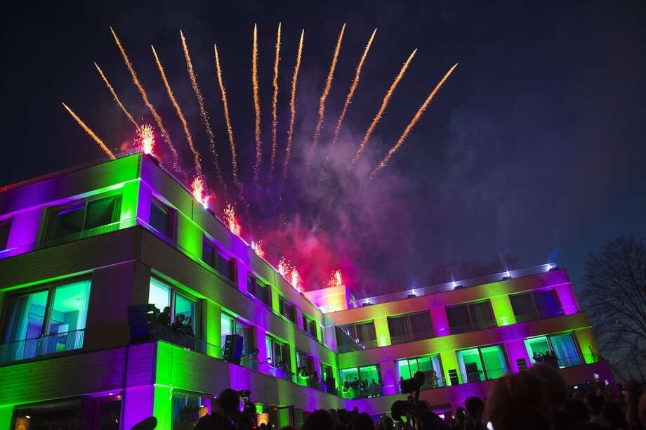 Fireworks light up the sky over the Swedish Music Hall of Fame during the inauguration of the ABBA The Museum on May 6, 2013.