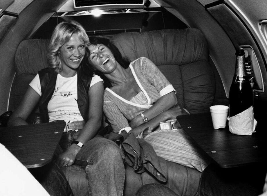 Agnetha and Frida in a private jet on tour in 1979.