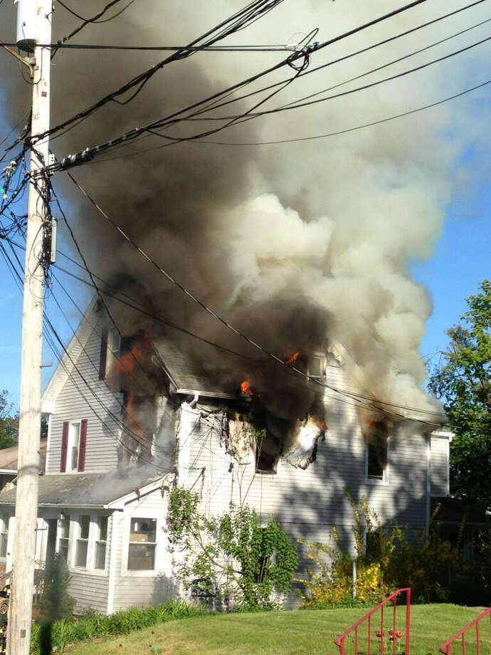 Firefighters are responding to a blaze at a house on Stillman Avenue, May 7. Photo: Contributed