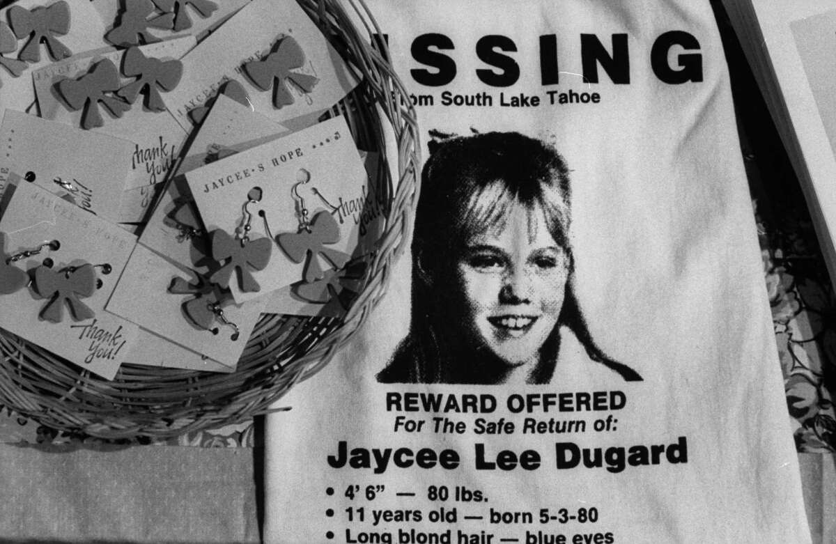Jaycee Dugard's image is seen on a T-shirt, along with Jaycee keychains, that were for sale to help raise money for her parents to keep the search for their daughter going.