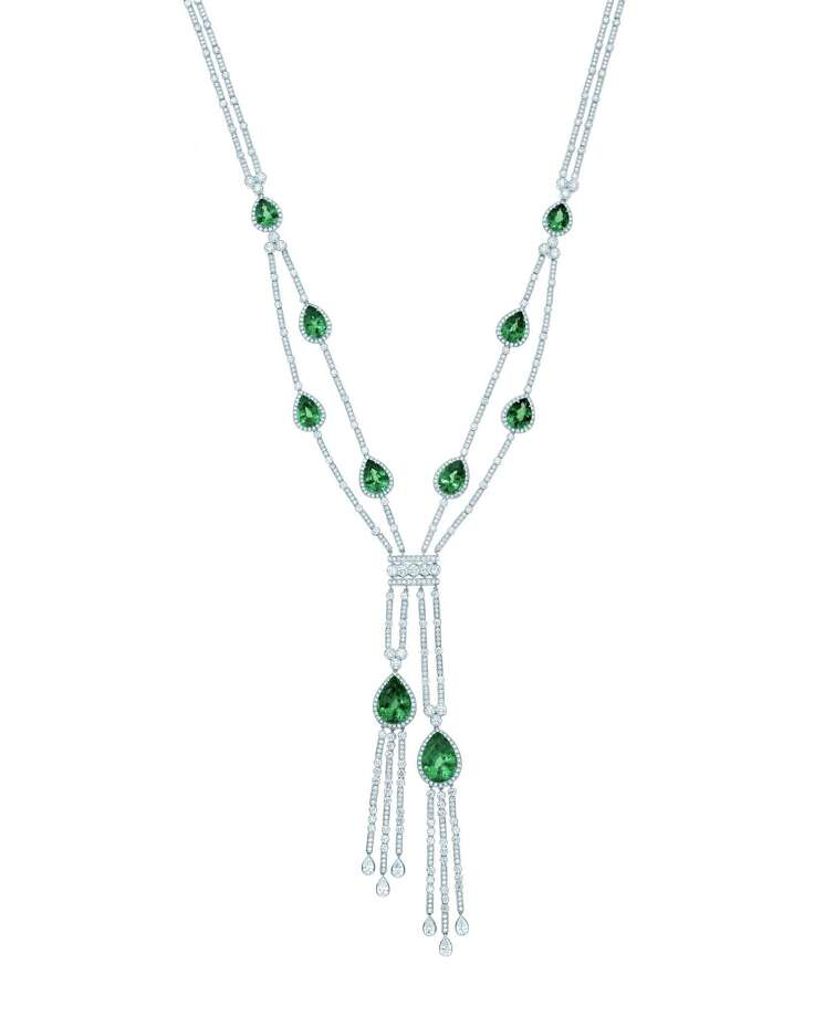 "Diamonds are forever: Brilliant green tsavorites — 35.69 carats of them! — sparkle amidst strands of diamonds in Tiffany & Co.'s art deco-chic necklace from 2013's Blue Book Collection. Tiffany & Co. jewels also can be seen in the new ""Gatsby"" movie; $355,000 at Tiffany & Co. Photo: Tiffany & Co."