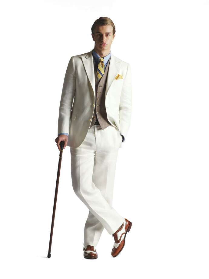 "Leo's look:F. Scott Fitzgerald might have dressed his title character in bespoke London threads, but ""The Great Gatsby"" costume designer Catherine Martin used 1920s-era outfits from the Brooks Brothers archives to create Leonardo DiCaprio's look. The Brooks Brothers Gatsby collection inspired by the results features everything from ties to tuxedos; ivory linen suit pieces $98.50-$698 at Brooks Brothers in The Shops at La Cantera. Photo: Brooks Brothers"