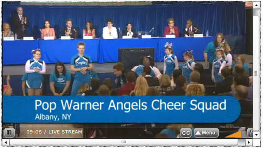 Screen capture from the Challenger Angels, performing at the President's Council on Fitness, Sports & Nutrition in Washington, D.C. on Tuesday, May 7, 2013.