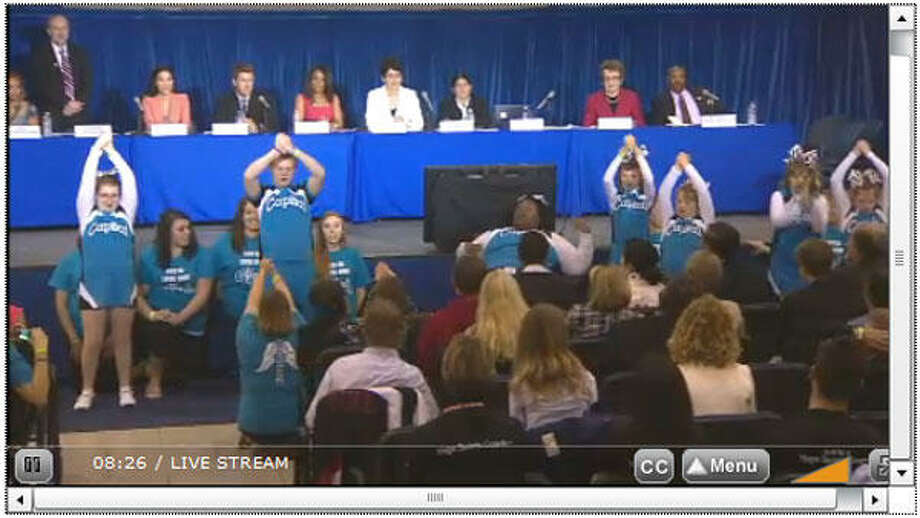 Screen capture from the Challenger Angels, performing at the President's Council on Fitness, Sports & Nutrition in Washington, D.C. on Tuesday, May 7, 2013. (My Julia is on the far left. Go Julia!!!)