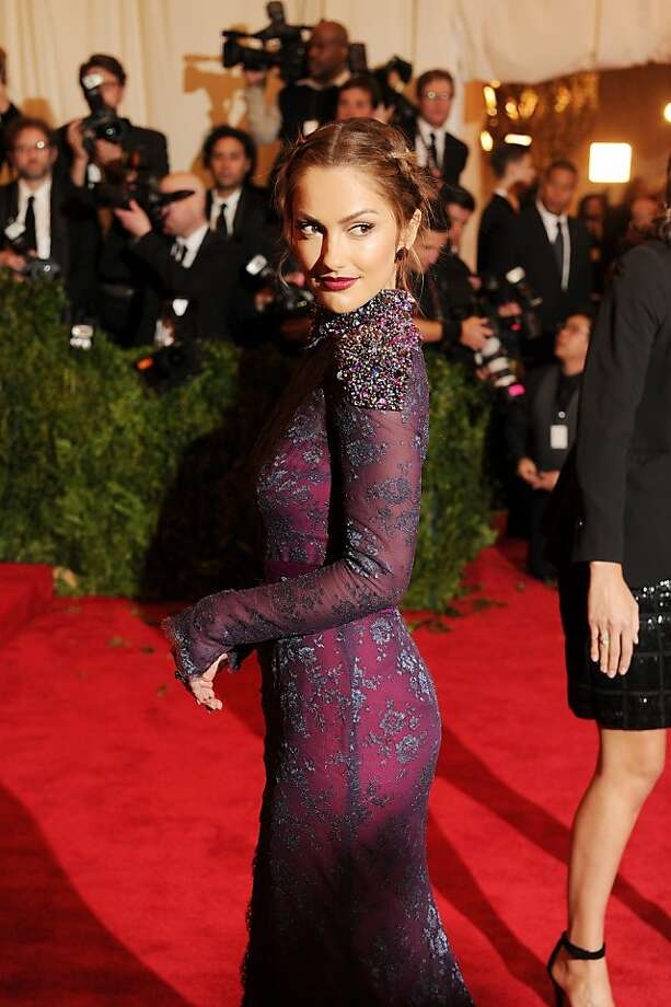 "Minka Kelly picked a purple number for the ""PUNK: Chaos to Couture"" exhibition at the Met in New York. Photo: Dimitrios Kambouris, Getty Images"