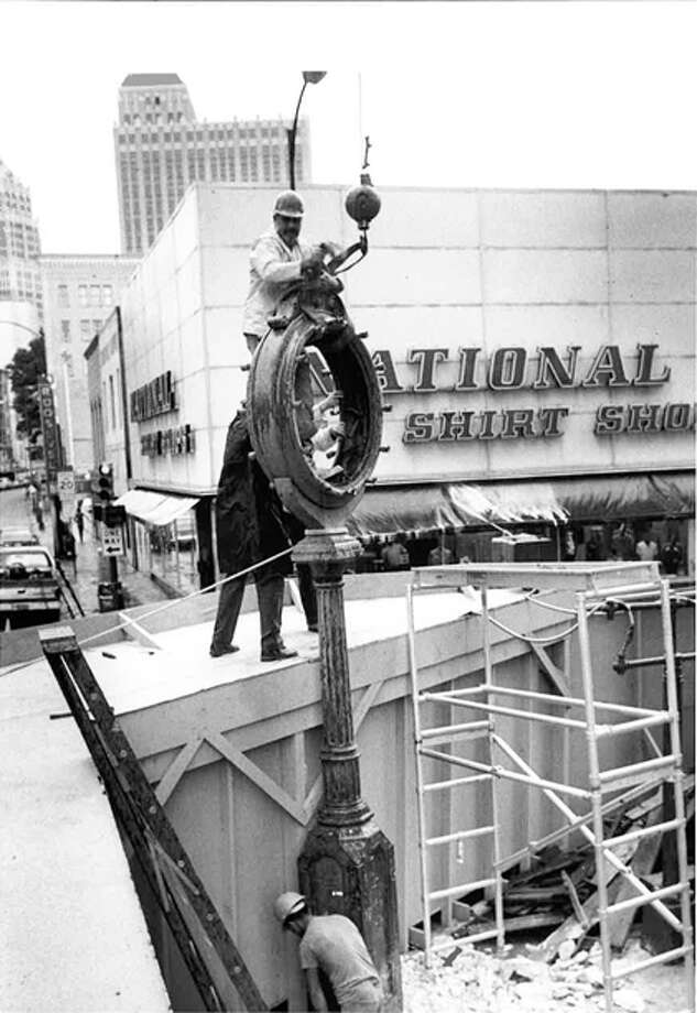 The Hertzberg Clock was first installed in front of the Eli Hertzberg Jewelry Company on Commerce Street in 1878. In 1910, the clock moved to the corner of St. Mary's and Houston streets. Photo: COURTESY OF SAN ANTONIO CONSERVATION SOCIETY