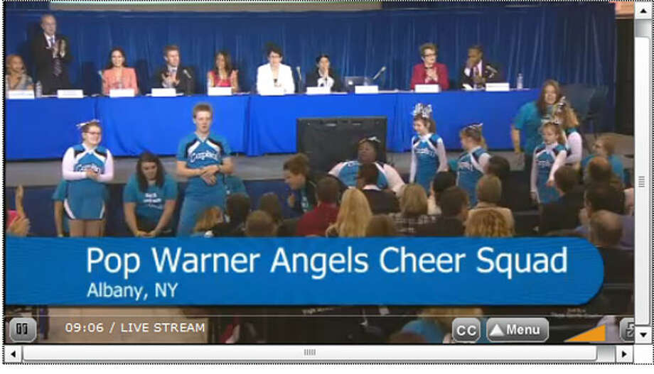 Screen capture of the Challenger Angels special needs cheer team, performing at the  President's Council on Fitness, Sports & Nutrition in Washington, D.C. on Tuesday, May 7, 2013.