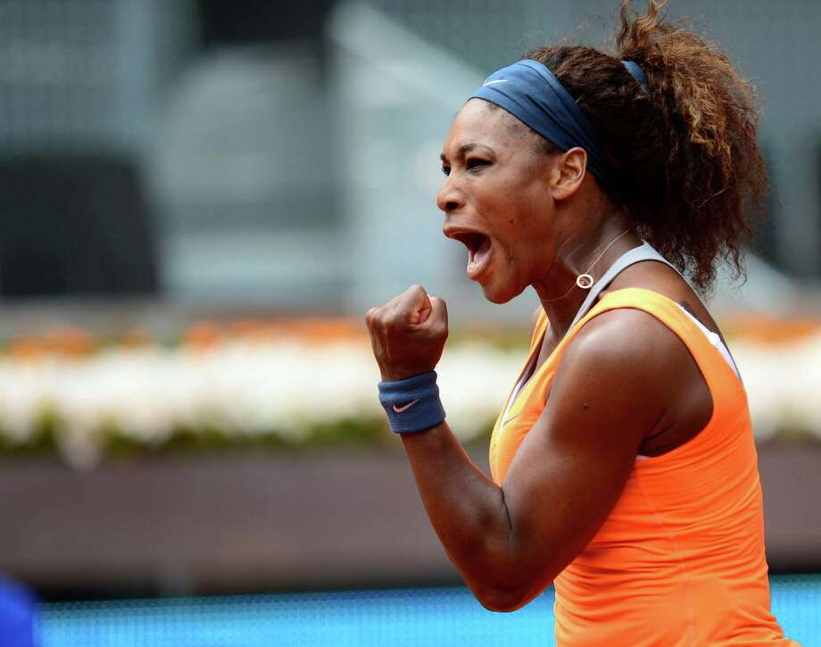 """35. Serena WilliamsSerena Williams currently ranks No. 1 in women's singles tennis, and is one of the greatest players of all time.To date, Williams holds 15 Grand Slam singles and 13 Grand Slam doubles titles, as well as four Olympic gold medals. She won the 2012 US Open in """"epic fashion"""" beating then-No. 1-ranked Victoria Azarenka 6-2, 2-6, 7-5.She's never been afraid to show emotion on the court; and she's also made bold statements in the world of fashion, on and off the court. Photo: JAVIER SORIANO, File / AFP"""