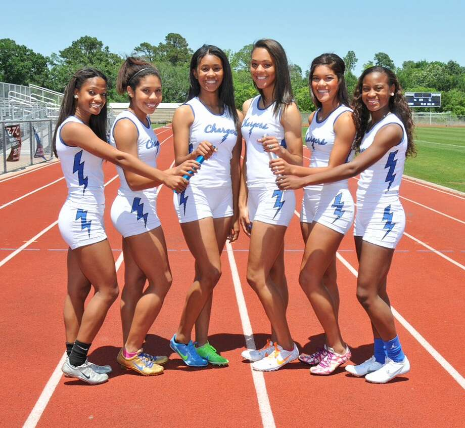 Clear Springs Lady Chargers freshman Morgan Davis, left, junior Erika Rodriguez, senior Aria Kelly, senior Jenna Sampson, junior Aamadi Childress and senior Tiffany Terry finished second in the team standings at the 2013 UIL State Track and Field Championships. Photo: Scott Hainline / Courtesy