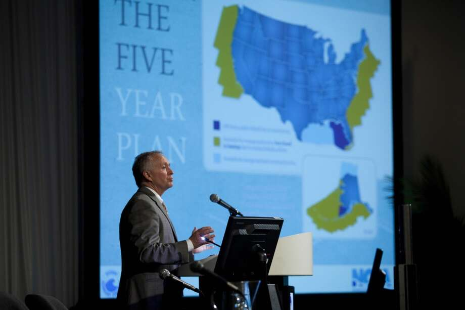 "Randall Luthi, president of NOIA, National Ocean Industries Association speaks at a topical breakfast titled ""Washington Politics: Offshore Consequences"" May 7, 2013 in Houston at the Offshore Technology Conference May 7, 2013 in Houston.  (Eric Kayne/For the Chronicle) Photo: Eric Kayne, For The Chronicle"