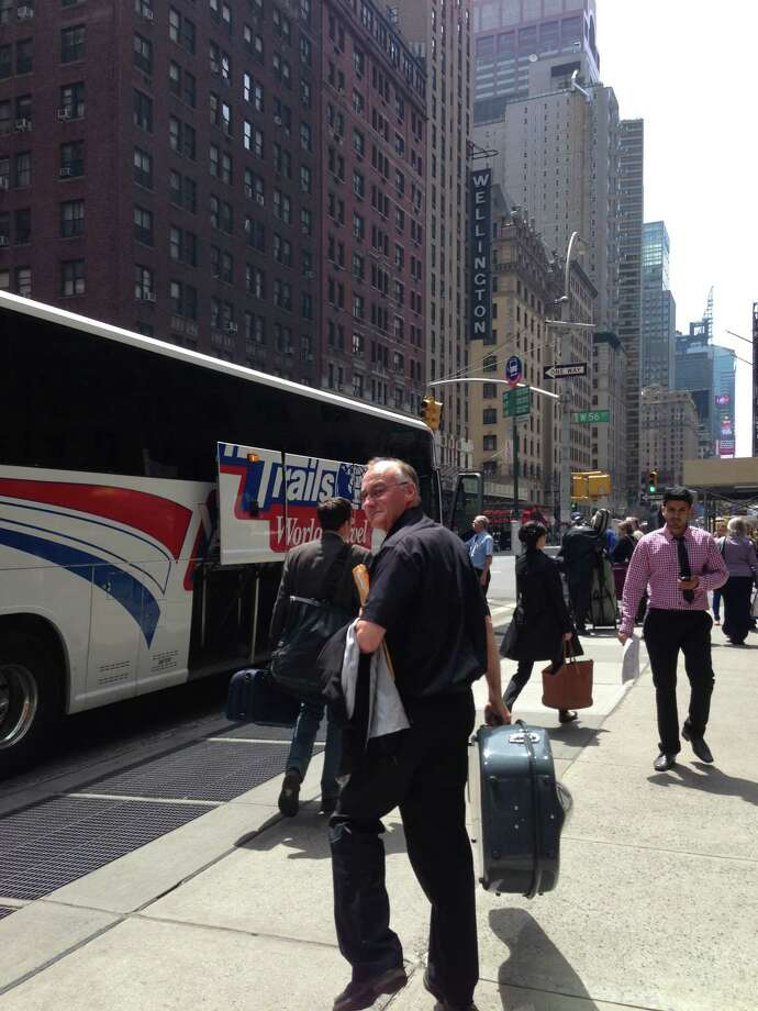 The ASO arrives in New York City after the bus ride down from Albany for the Albany Symphony Orchestra's May 7, 2013, performance at Carnegie Hall. (Amy Biancolli / Times Union)