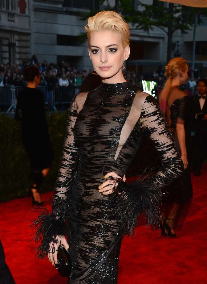 Good: Anne Hathaway. The dress walks the line, but the new blonde hair is a winner. She looks great.