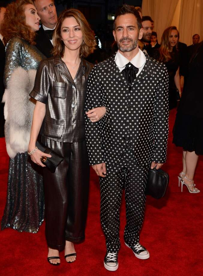 Bad: Sofia Coppola/Marc Jacobs. Marc Jacobs' polka dot suit is one of his tamer red carpet ensembles, but next to Sofia Coppola's charcoal pajama set, they both look like kids that snuck out of their beds for a glimpse of the grownups' party.