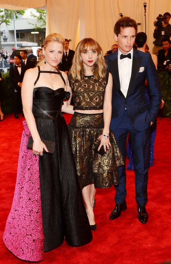 Bad: Mamie Gummer (seen here with Zoe Kazan and Eddie Redmayne). The sexy bodice and straps just can't save Mamie's dress from its strange bottom half.