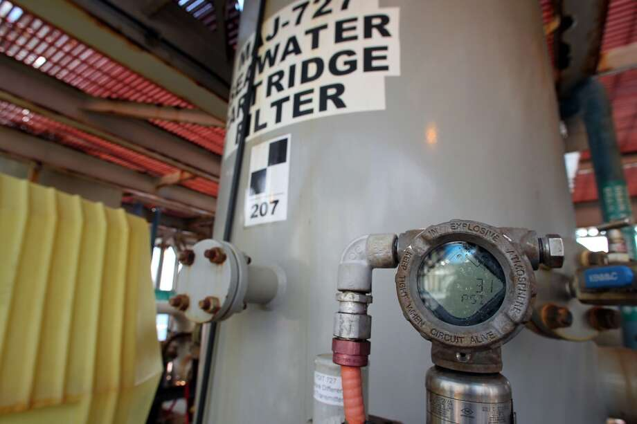 Seawater filters which are part of the water injection system on the Shell Ursa TLP (tension leg platform) located in the Mississippi Canyon block 809 in Gulf of Mexico Wednesday, Oct. 17, 2012, in New Orleans. Water injection is used to increase the pressure inside the reservoir to increase oil recovery. ( James Nielsen / Chronicle ) Photo: Chronicle