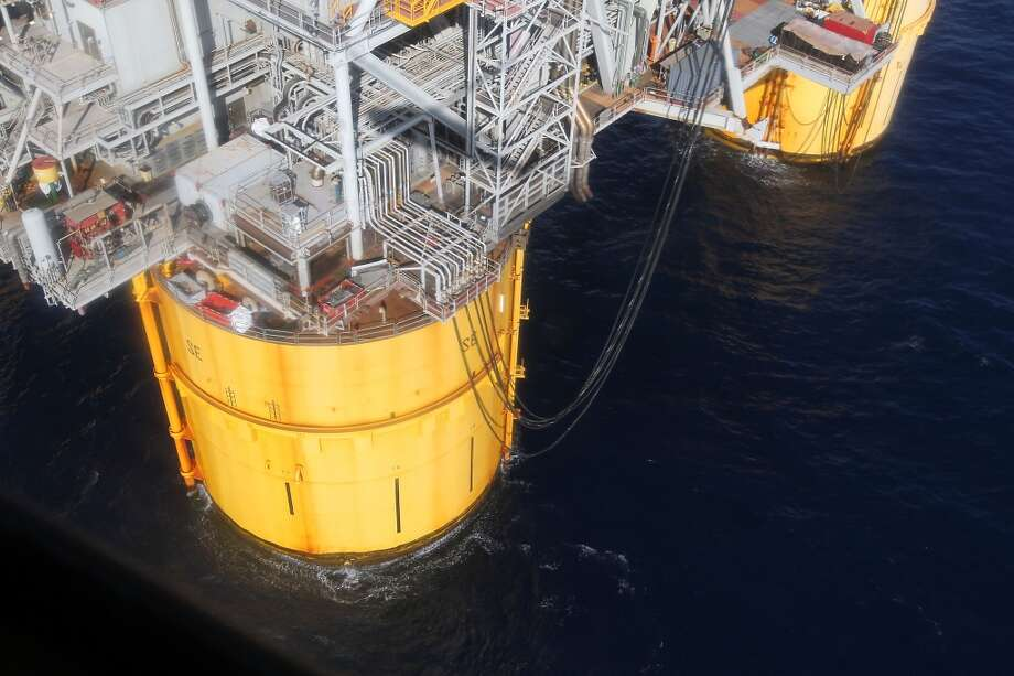One of four circular steel columns which are 85 feet in diameter, 177 feet high, on the Shell Ursa TLP (tension leg platform) located in the Mississippi Canyon block 809 in Gulf of Mexico Wednesday, Oct. 17, 2012, in New Orleans. ( James Nielsen / Chronicle ) Photo: Chronicle