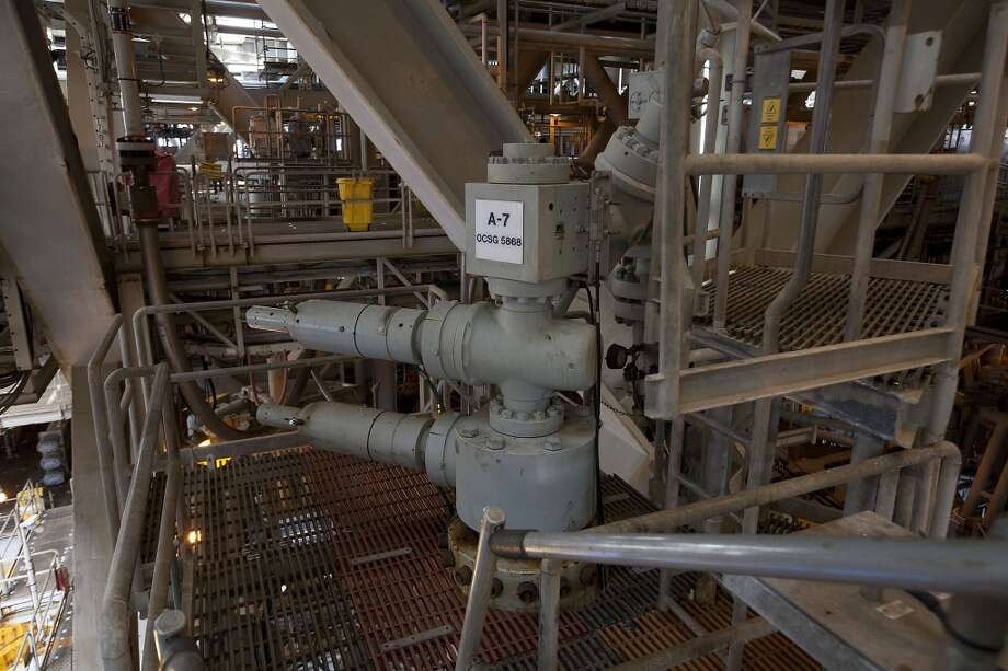 The A-7 well on the Shell Ursa TLP (tension leg platform) which set a production of 50,150 boe (barrel of oil equivalent) in 1999, in Gulf of Mexico Wednesday, Oct. 17, 2012, in New Orleans. ( James Nielsen / Chronicle ) Photo: Chronicle