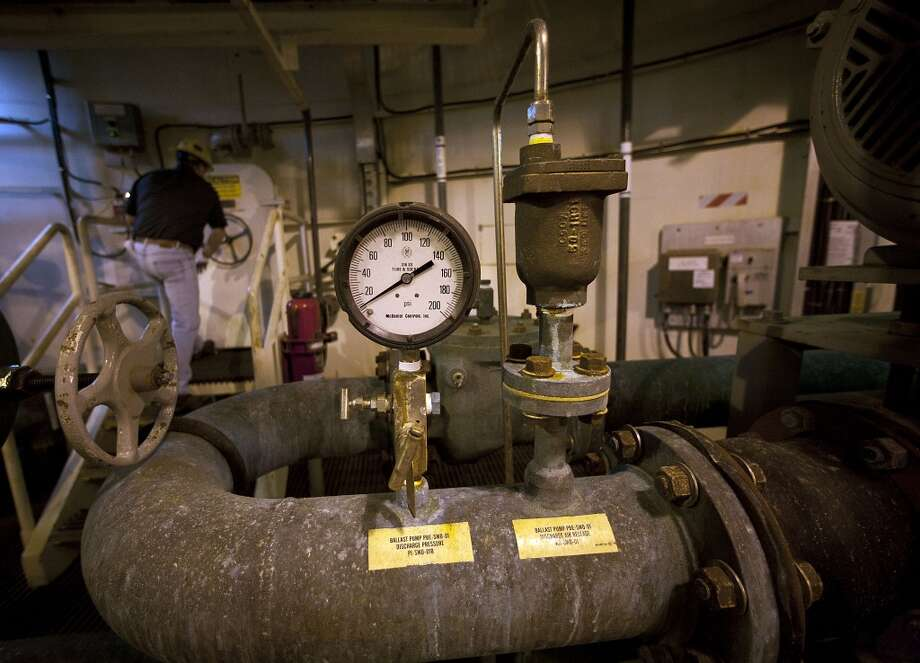 A ballast pump discharge pressure gauge inside one of the hull on the Shell Ursa TLP (tension leg platform) in Gulf of Mexico Wednesday, Oct. 17, 2012, in New Orleans. ( James Nielsen / Chronicle ) Photo: Chronicle