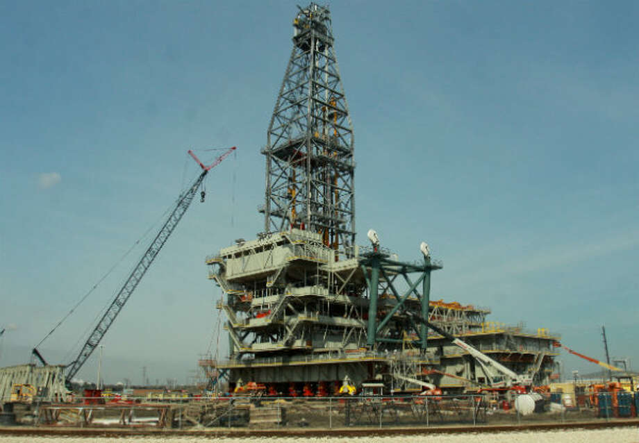The Olympus drilling rig, constructed by Lonestar Energy Fabrication, will become part of the world's largest tension leg platform. Royal Dutch Shell's Olympus TLP weighs five million pounds. Photo: Gary Fountain, Houston Chronicle