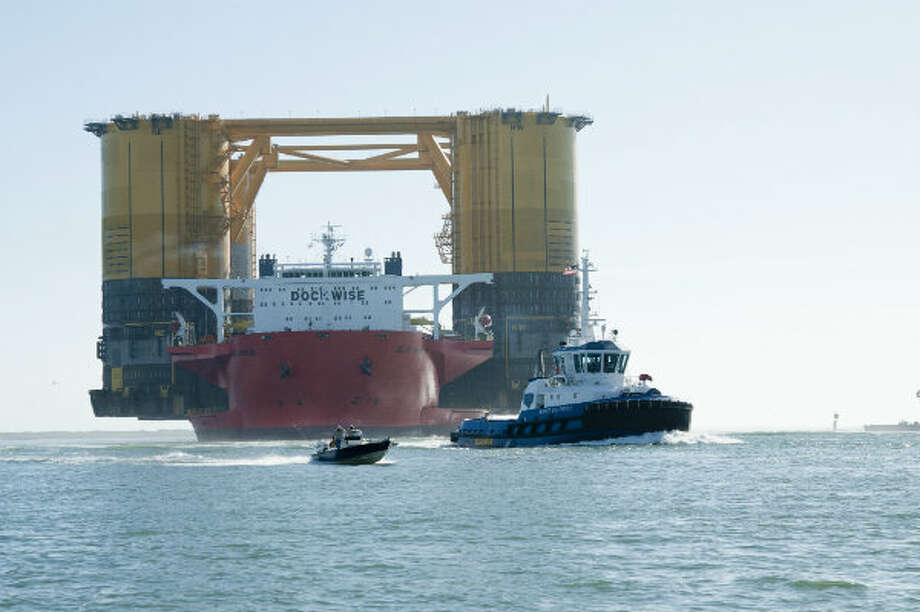 Shell Offshore Inc.'s Olympus hull completed a 18,272-mile journey to Ingleside, Texas on Jan. 26, 2013. It took two months for the structure to travel from South Korea. It was transported on the Blue Marlin, a vessel with a 26-person crew. Photo: Shell Offshore Inc.