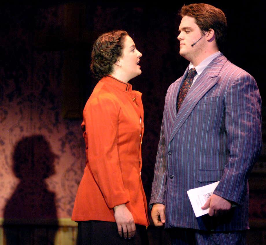 "Sister Sarah Brown, portrayed by Ally LaVigne of New Milford, shares a special moment with Sky Masterson, played by Harry McDowell of Wilton, as they sing ""I'll Know"" during May 5, 2013 rehearsal for Canterbury School's production of the Broadway musical hit, ""Guys and Dolls,"" in New Milford. Photo: Norm Cummings"