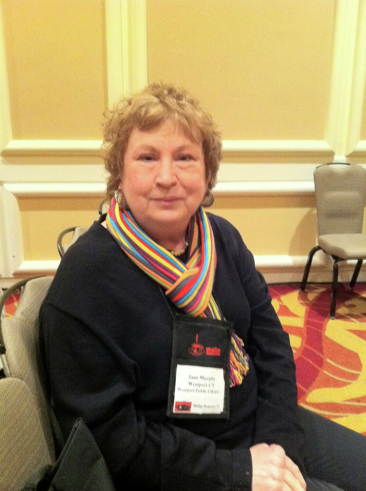 Jane Murphy of the Westport Public Library was part of the Connecticut contingent at the Malice Domestic mystery conference last weekend in the Washington, D.C. area. The librarian, who lives in Bridgeport, was scouting new authors and new titles at the 25th annual gathering.