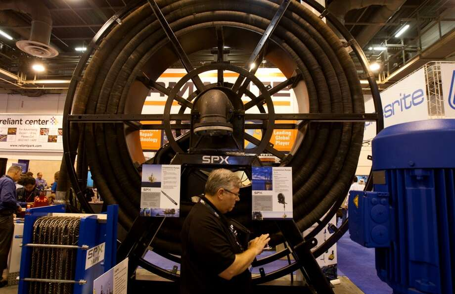 An SPX hose used for pumping is seen during day two of the Offshore Technology Conference at Reliant Center Tuesday, May 7, 2013, in Houston. (Cody Duty / Houston Chronicle) Photo: Cody Duty, Houston Chronicle