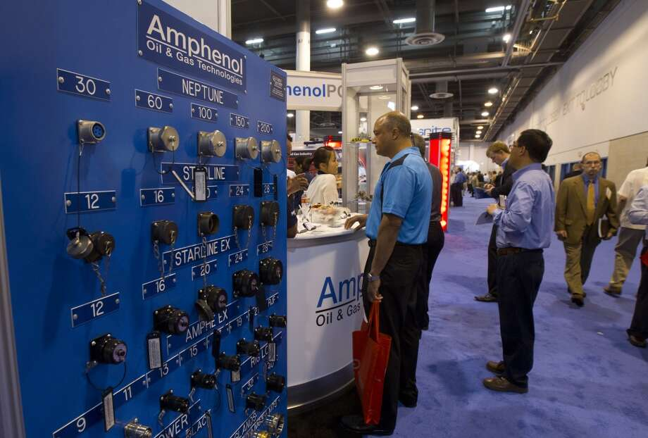 Products made by Amphenol are seen during day two of the Offshore Technology Conference at Reliant Center Tuesday, May 7, 2013, in Houston. (Cody Duty / Houston Chronicle) Photo: Cody Duty, Houston Chronicle