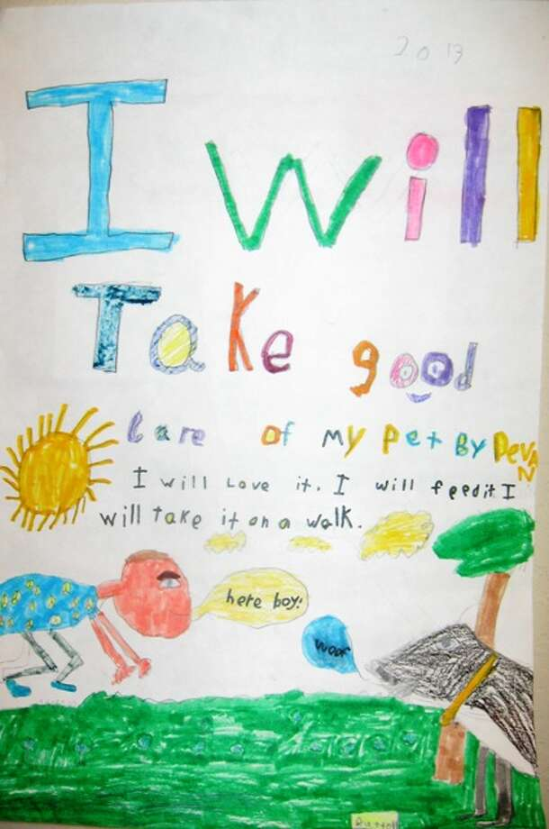 """""""I will take care of my pet by...""""  First Grade, 1st Place, Devan G., Helotes Elementary School"""