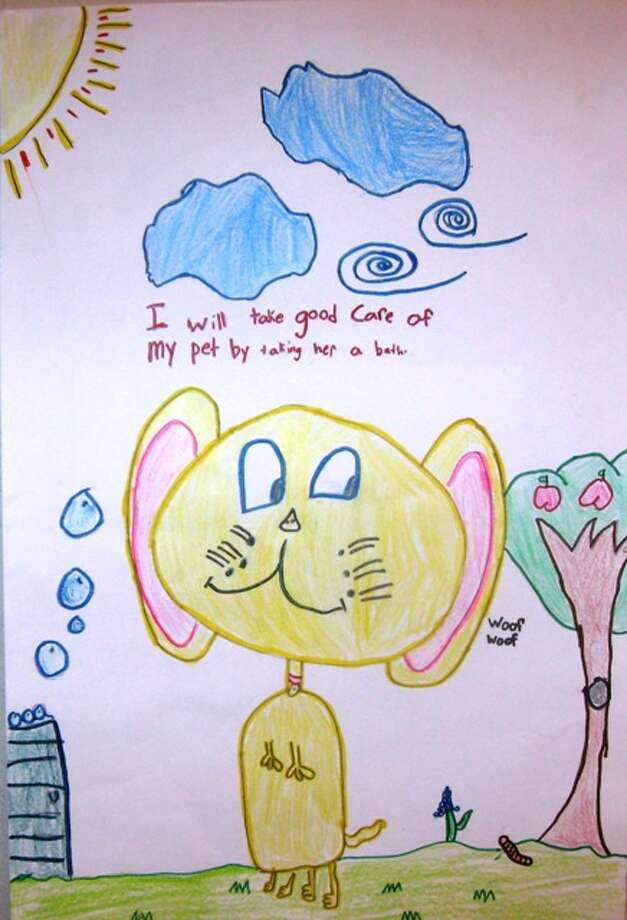 """I will take care of my pet by...""  First Grade, 3rd Place, Madison, Charles Beard Elementary School"