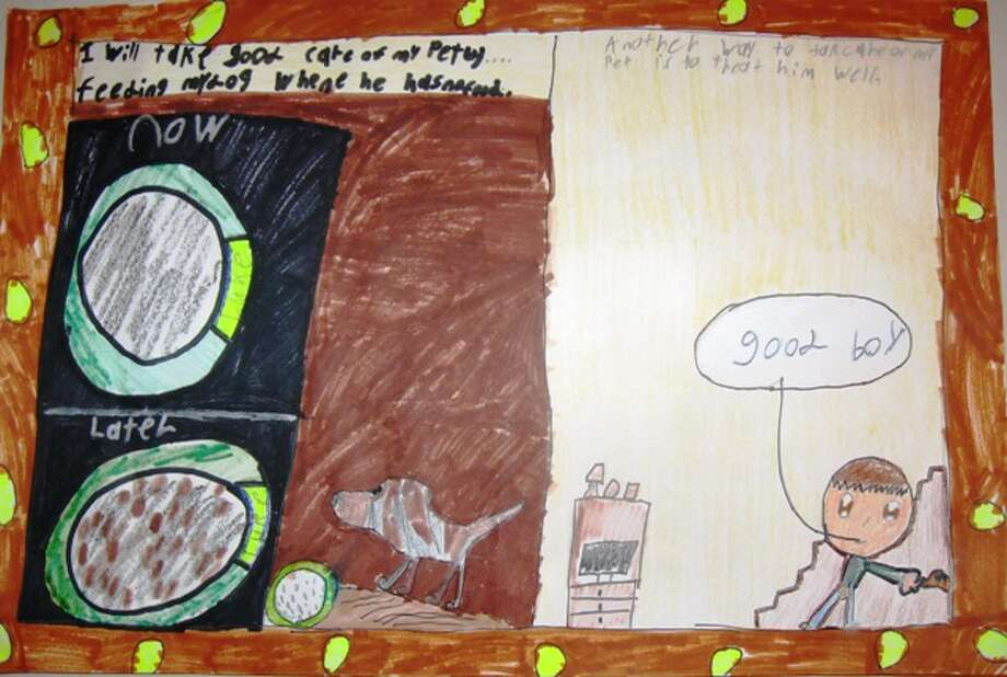 """I will take care of my pet by...""  Second Grade, 3rd Place, Skyler V., Charles Beard Elementary School"
