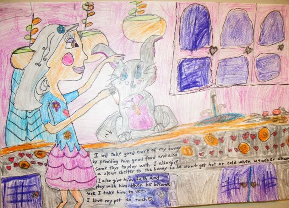 """I will take care of my pet by...""  Third Grade, 1st Place, Hafsah N., Charles Beard Elementary School"