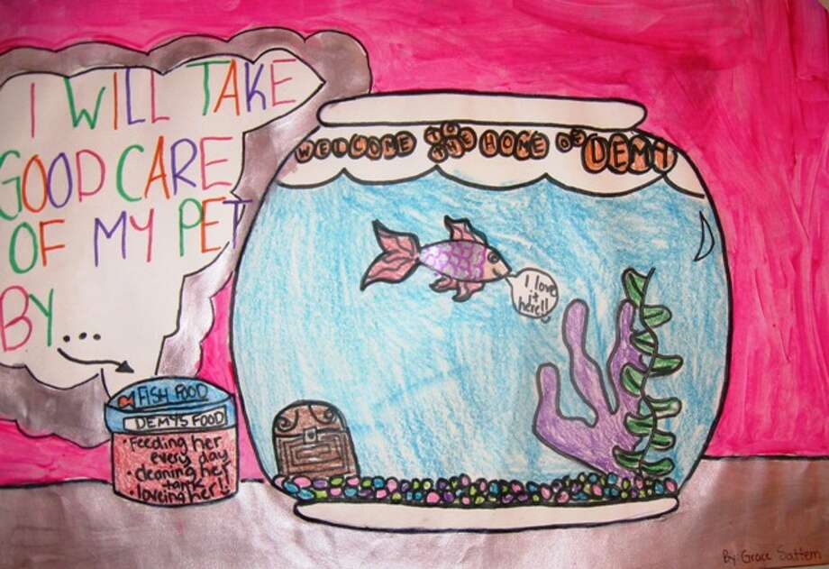 """""""I will take care of my pet by...""""  Third Grade, Honorable Mention, Grace S., Charles Beard Elementary School"""