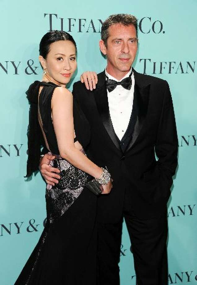 President of Asia-Pacific Region of Tiffany & Co. Stephane Lafay and Chinese actress Carina Lau attend the Tiffany & Co. Blue Book Ball