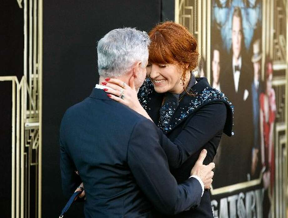 Singer Florence Welch, who has a song on the movie's soundtrack, with director Baz Luhrmann at the New York premiere.