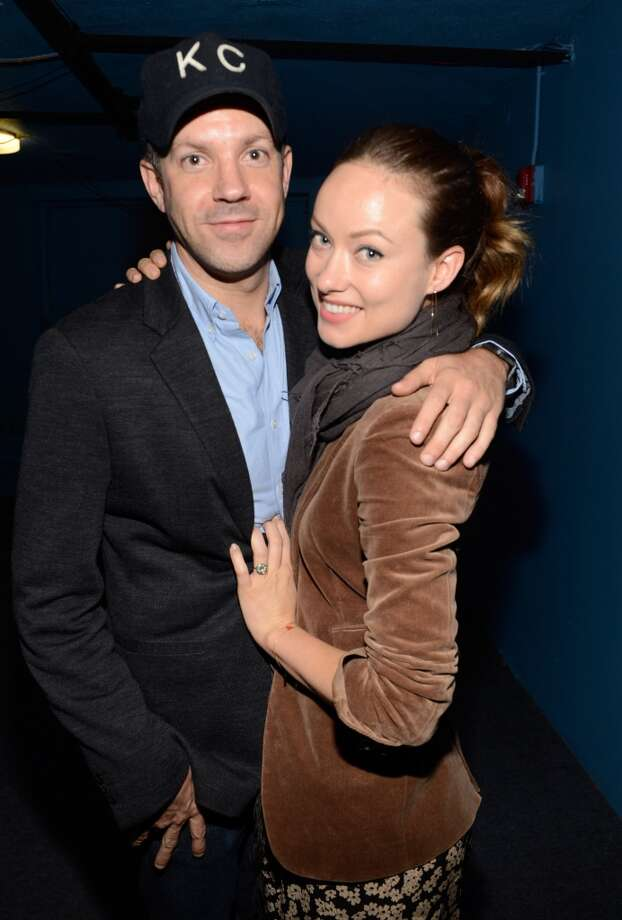 NEW YORK, NY - MAY 05:  Jason Sudeikis and Olivia Wilde backstage after MasterCard Priceless Premieres presents Justin Timberlake exclusive New York performance at Roseland Ballroom on May 5, 2013 in New York City.  (Photo by Kevin Mazur/WireImage)