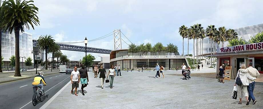 Red's Java House would have been moved south on the Embarcadero to make room for the new Golden State Warriors arena at Piers 30-32.  Image courtesy the Warriors.