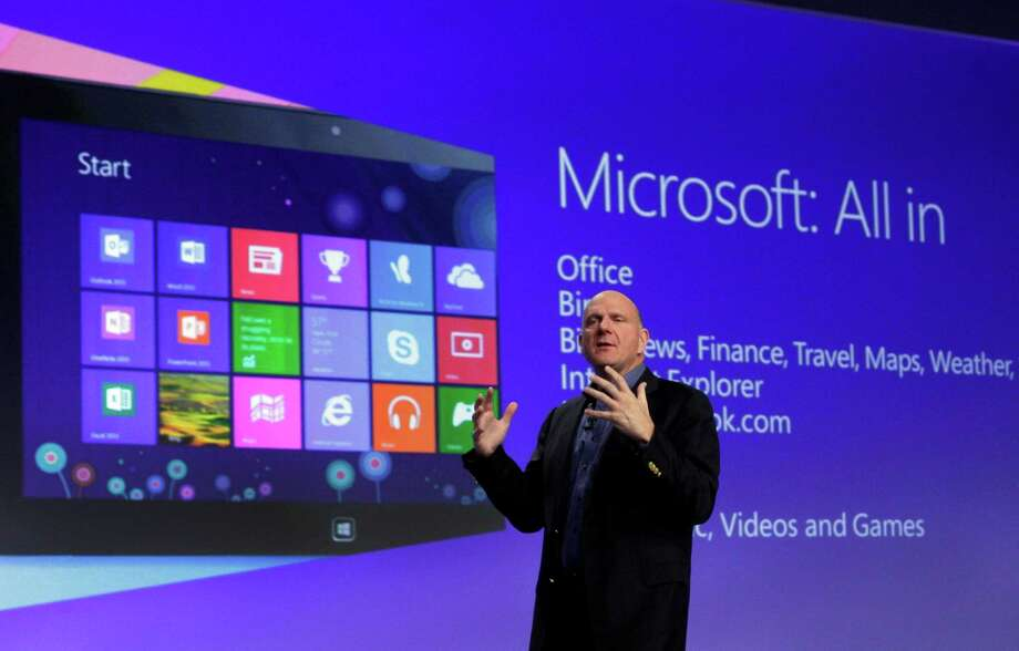 FILE - Microsoft CEO Steve Ballmer gives his presentation at the launch of Microsoft Windows 8, in New York,  in this Oct. 25, 2012 file photo. Microsoft is retooling the latest version of its Windows operating system to address complaints and confusion that have been blamed for deepening a slump in personal computer sales. The tune up announced Tuesday May 7, 2013 won't be released to consumers and businesses until later this year.   (AP Photo/Richard Drew, File) Photo: Richard Drew