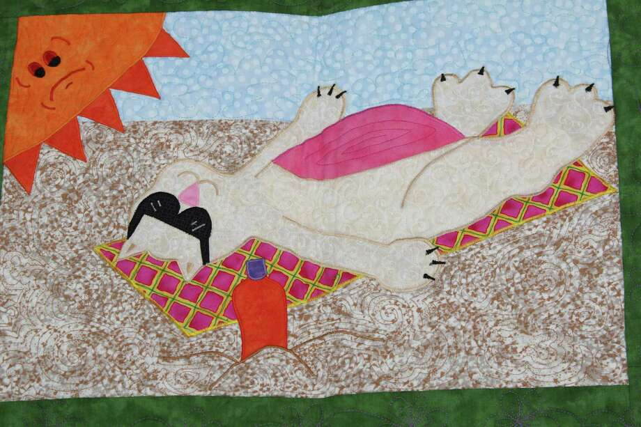 """Haupstrasse Quiltfest was held on Boerne's Main Plaza and throughout downtown Saturday, with quilt shows, sales and demonstrations and displays in retail store windows. """"Cats Galore"""" was sewn by Fay Bryan. This is a close-up of one section. Photo: Lauri Gray Eaton / Northwest Wee"""