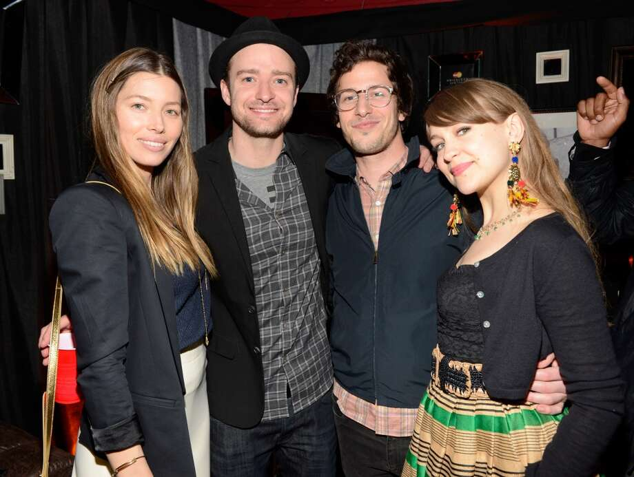 \Jessica Biel, Justin Timberlake, Andy Samberg and  Joanna Newsom backstage after MasterCard Priceless Premieres presents Justin Timberlake at Roseland Ballroom on May 5, 2013 in New York City.  (Photo by Kevin Mazur/WireImage)