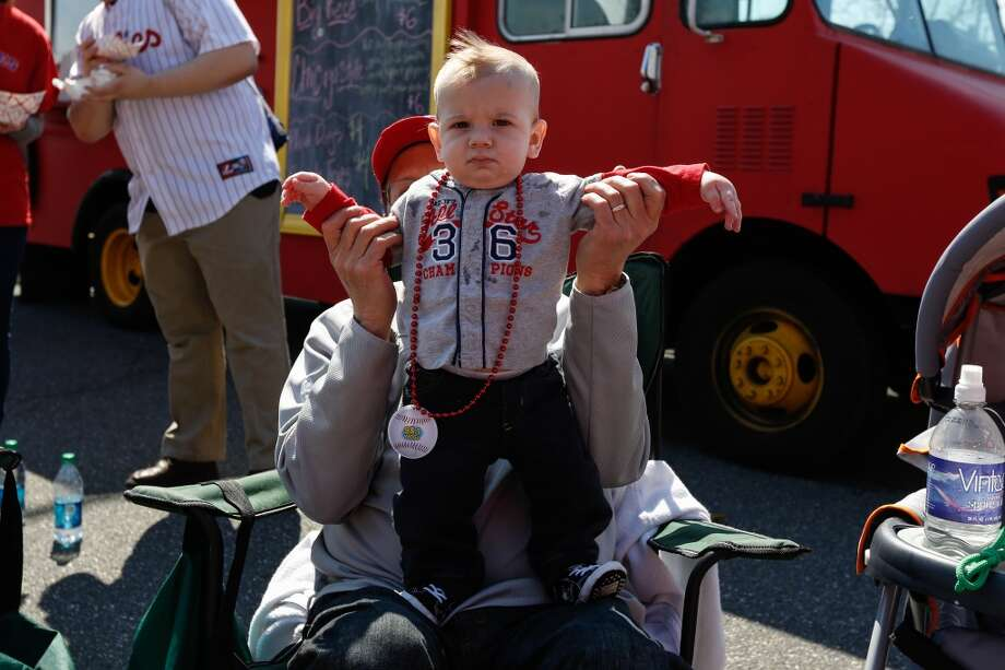 A young fan is seen outside of the stadium before the Philadelphia Phillies Home Opener against the Kansas City Royals at Citizens Bank Park on April 5, 2013 in Philadelphia.