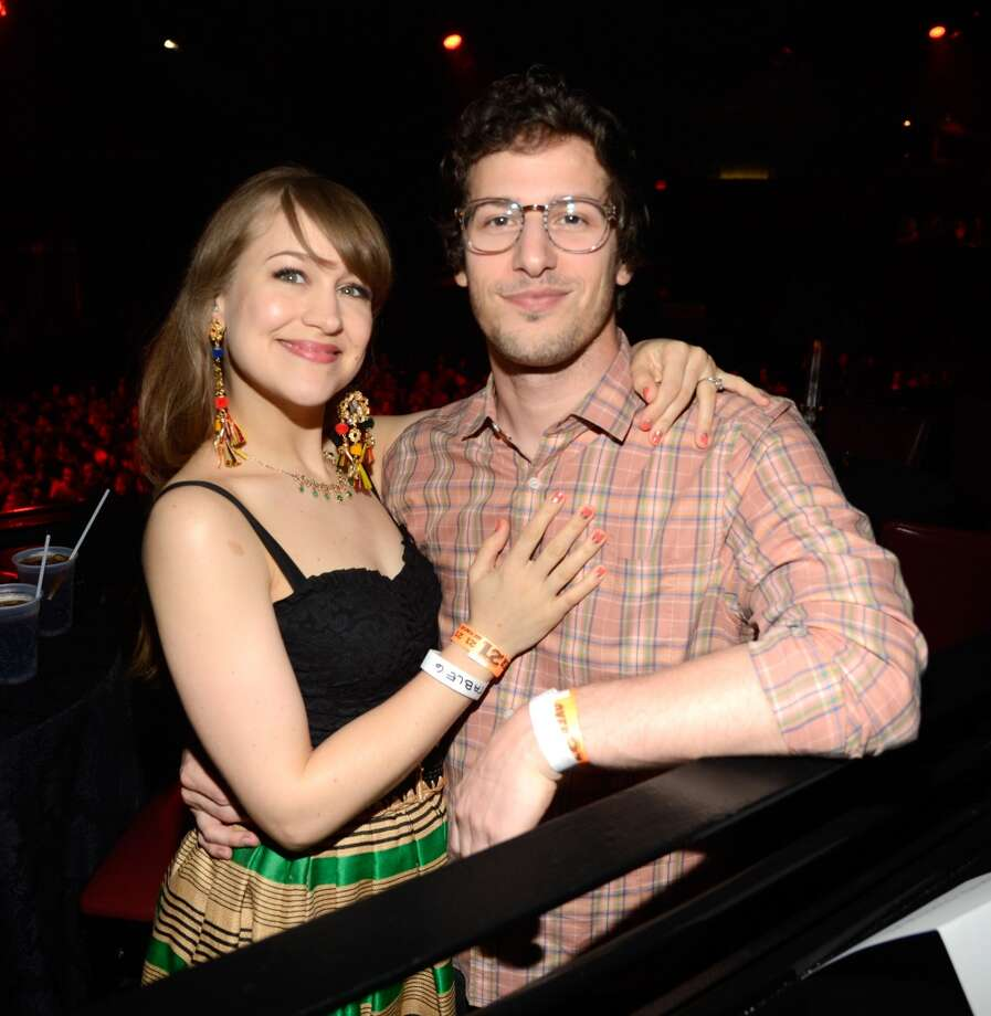 NEW YORK, NY - MAY 05:  Joanna Newsom and Andy Samberg attend MasterCard Priceless Premieres presents Justin Timberlake exclusive New York performance at Roseland Ballroom on May 5, 2013 in New York City.  (Photo by Kevin Mazur/WireImage)