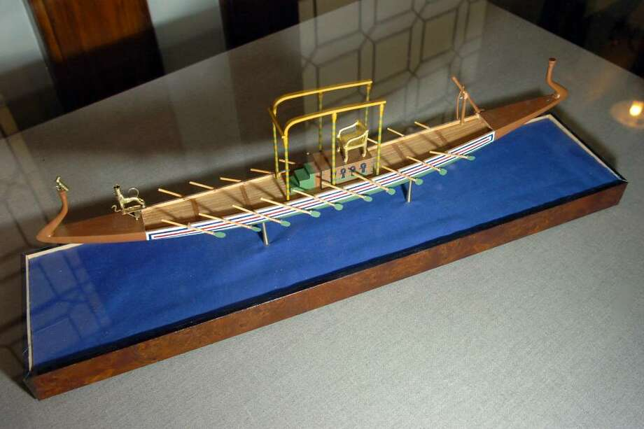 Over thirty hand-crafted ship and boat models built by Jim Wiser, of Fairfield, are on display at the Pequot Library, in the Southport, Conn. thru the end of January. Photo: Ned Gerard / Connecticut Post