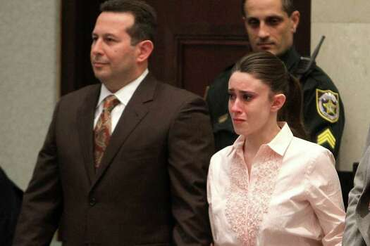 ORLANDO, FL - JULY 5:  (EDITORS NOTE: Retransmission with alternate crop.) Casey Anthony (R) reacts to being found not guilty on murder charges at the Orange County Courthouse on July 5, 2011 in Orlando, Florida.  At left is her attorney Jose Baez. Casey Anthony had been accused  of murdering her two-year-old daughter Caylee in 2008. Photo: Pool, Getty Images / 2011 Getty Images