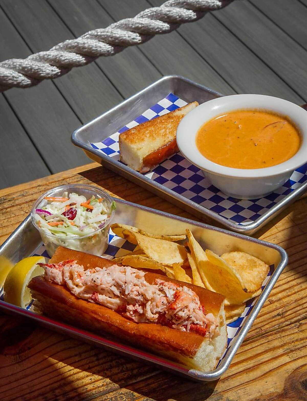 The Lobster roll with a bowl of Clam Chowder at the New England Lobster Company in Burlingame, Calif., is seen on Tuesday, April 30th, 2012.