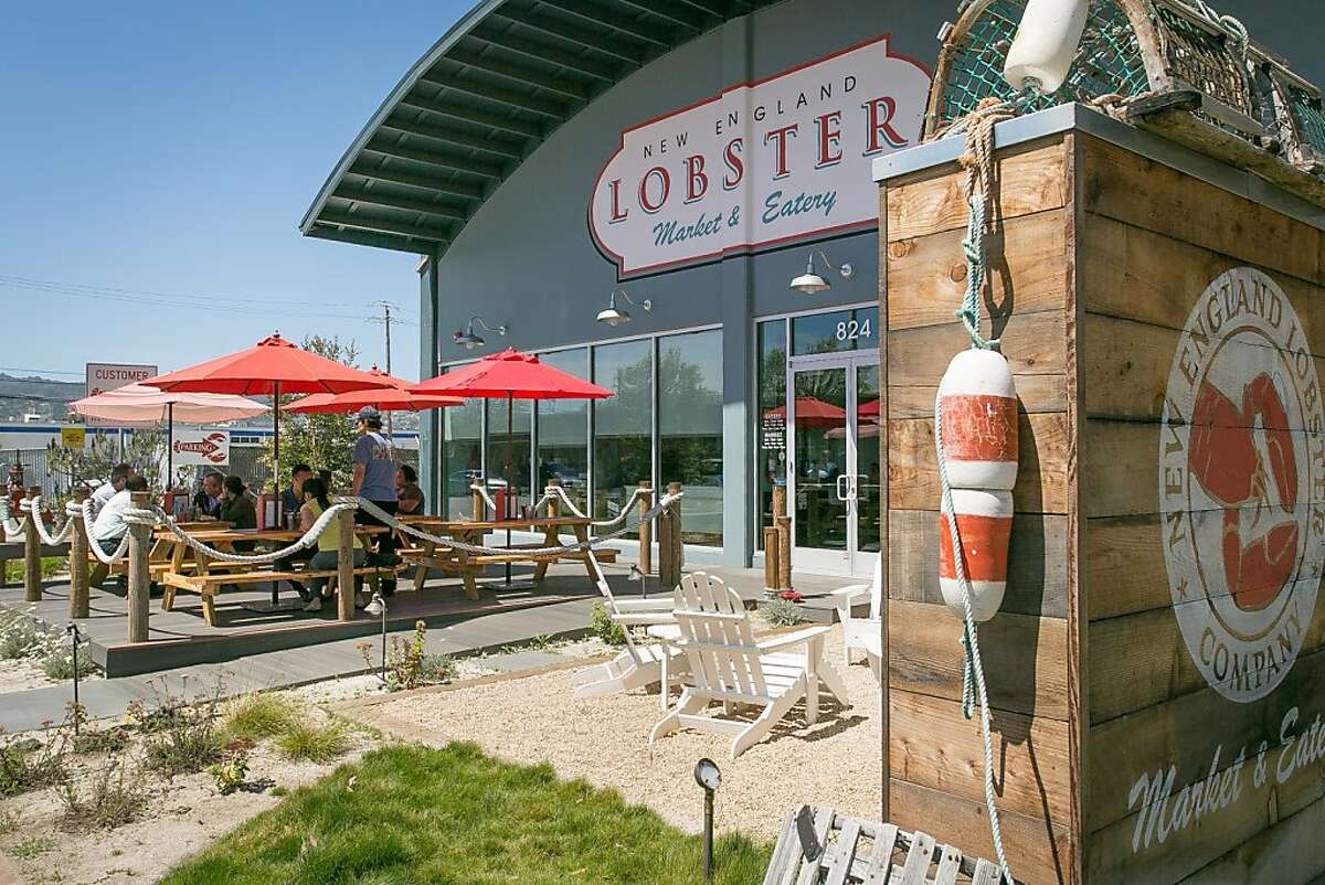 People enjoy lunch on the deck at the New England Lobster Company in Burlingame, Calif., on Tuesday, April 30th, 2012.