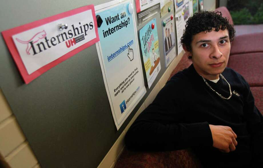 Gabriel Gonzalez had several internship offers, and he learned of opportunities at the University of Houston Career Services Office, where he is employed as part of his work-study financial aid package. Photo: Mayra Beltran, Staff / © 2013 Houston Chronicle