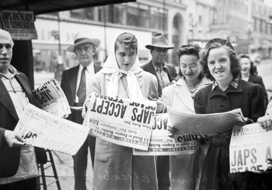 This previously unpublished photo was taken in Aug. 1945. The women are identified on the negative sleeve as Beverly Davis, Elizabeth Sayah, Hilda Johnson. Photo: Copyright MOHAI, Seattle Post-Intelligencer Collection, PI28284-307