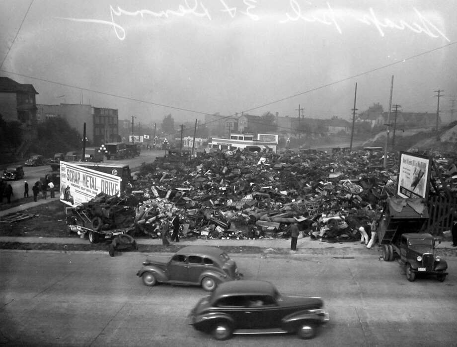 This image, taken Oct. 9, 1944, shows a scrap metal drive in Seattle. Such drives were common during World War II. Photo: Copyright MOHAI, Seattle Post-Intelligencer Collection, PI28163